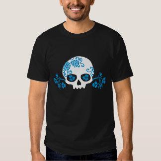 Skull with Blue Flower Pattern T Shirt