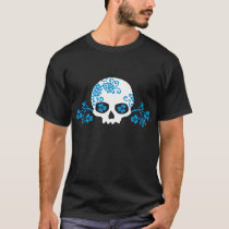 Skull with Blue Flower Pattern T-Shirt