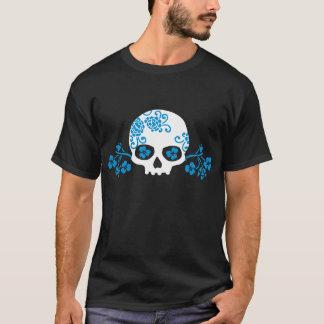 Skull with Blue Flower Pattern T-Shirt