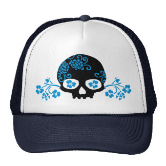 Skull with Blue Flower Pattern Trucker Hat