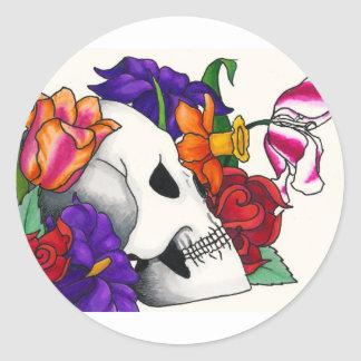 Skull with Bouquet Classic Round Sticker