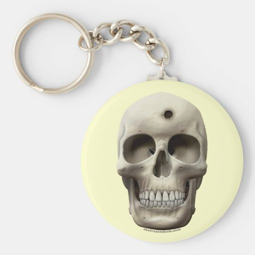 Skull with Bullet Hole Keychains