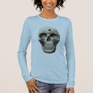 Skull with Bullet Hole Long Sleeve T-Shirt