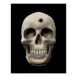 Skull with Bullet Hole Print
