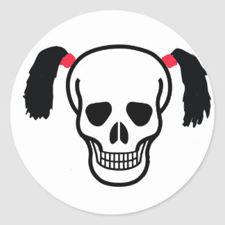 Skull With Bunches Classic Round Sticker