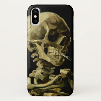 Skull with Burning Cigarette by Van Gogh iPhone X Case