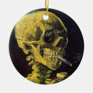 Skull with Burning Cigarette Ceramic Ornament