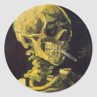 Skull with Burning Cigarette Classic Round Sticker