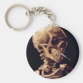 Skull with burning cigarette Painting Van Gogh Keychain