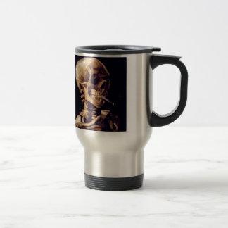 Skull with burning cigarette Painting Van Gogh Travel Mug