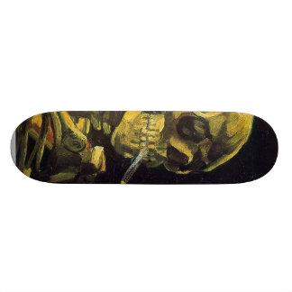 Skull with Burning Cigarette Custom Skate Board