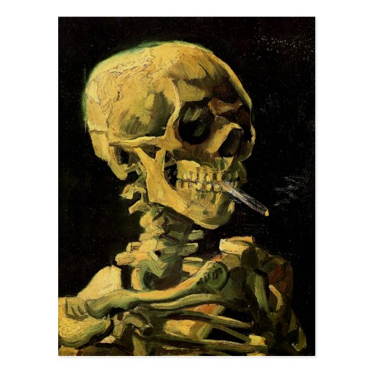 Skull with Burning Cigarette Van Gogh Fine Art Postcard