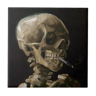Skull with Burning Cigarette Vincent van Gogh Art Ceramic Tile