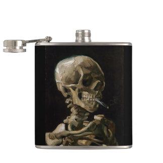 Skull with Burning Cigarette Vincent van Gogh Art Flask