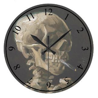 Skull with Burning Cigarette Vincent van Gogh Art Large Clock