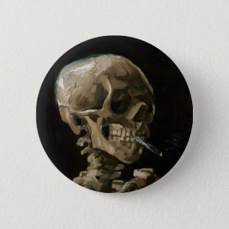 Skull with Burning Cigarette Vincent van Gogh Art Pinback Button