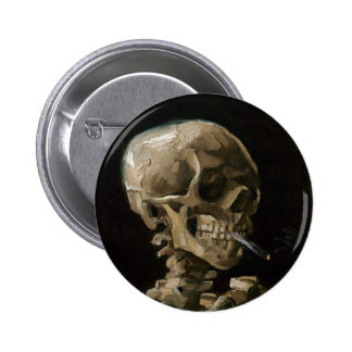 Skull with Burning Cigarette Vincent van Gogh Art Pinback Button