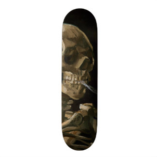 Skull with Burning Cigarette Vincent van Gogh Art Skateboard