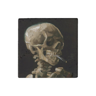 Skull with Burning Cigarette Vincent van Gogh Art Stone Magnet