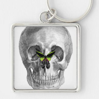 SKULL WITH BUTTERFLY ON NOSE PRINT Silver-Colored SQUARE KEYCHAIN