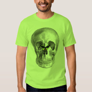 SKULL WITH BUTTERFLY ON NOSE PRINT T SHIRT