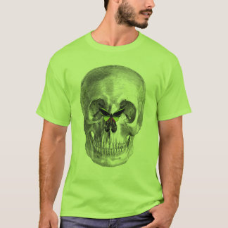 SKULL WITH BUTTERFLY ON NOSE PRINT T-Shirt