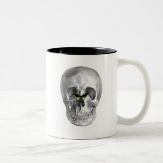 SKULL WITH BUTTERFLY ON NOSE PRINT Two-Tone COFFEE MUG