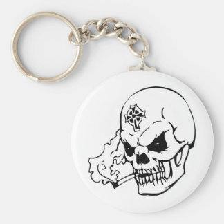 Skull with Celtic Cross Basic Round Button Keychain