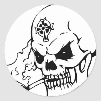 Skull with Celtic Cross Classic Round Sticker
