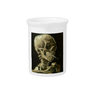 Skull with Cigarette by Van Gogh Beverage Pitcher