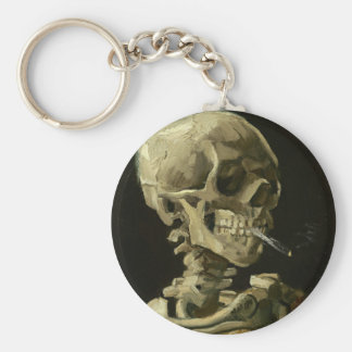 Skull with Cigarette by Van Gogh Basic Round Button Keychain
