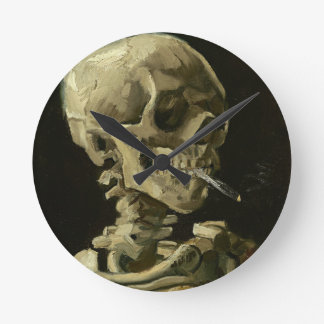 Skull with Cigarette by Van Gogh Round Clock