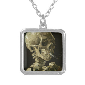 Skull with Cigarette by Van Gogh Square Pendant Necklace