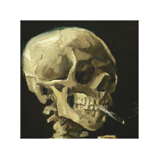 Skull with Cigarette by Van Gogh Wrapped Canvas