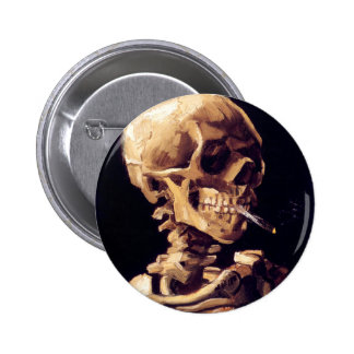 Skull With Cigarette, Van Gogh Pinback Buttons