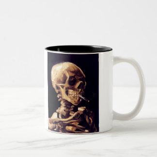Skull With Cigarette, Van Gogh Two-Tone Coffee Mug