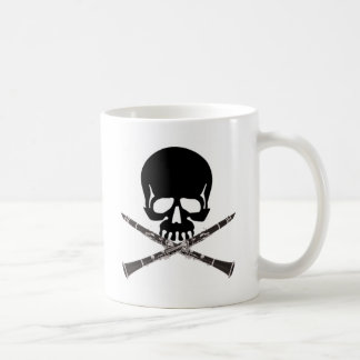 Skull with Clarinets and Crossbones Classic White Coffee Mug