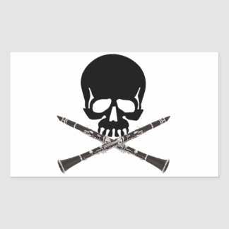 Skull with Clarinets and Crossbones Rectangular Sticker