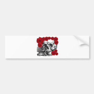 SKULL WITH CLAWS AND ROSES VINTAGE PRINT BUMPER STICKER