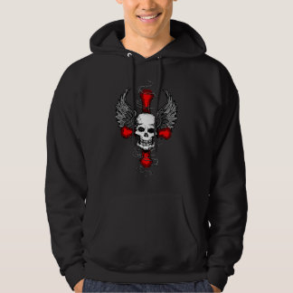 Skull with Cross and Wings Hoodie