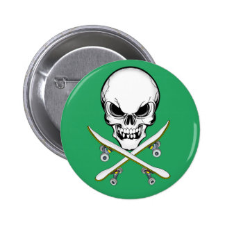 Skull with Cross Skateboards Green  Button