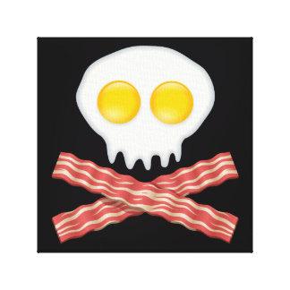 Skull With Crossed Bacon  Skull Bacon Eggs Canvas Print