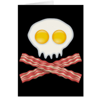 Skull With Crossed Bacon  Skull Bacon Eggs Card