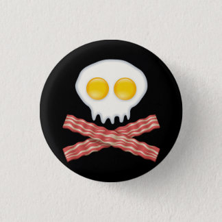 Skull With Crossed Bacon  Skull Bacon Eggs Pinback Button