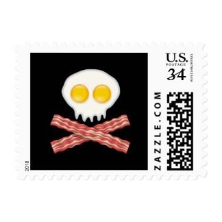 Skull With Crossed Bacon  Skull Bacon Eggs Postage Stamp