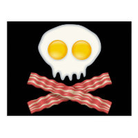 Skull With Crossed Bacon  Skull Bacon Eggs Postcard