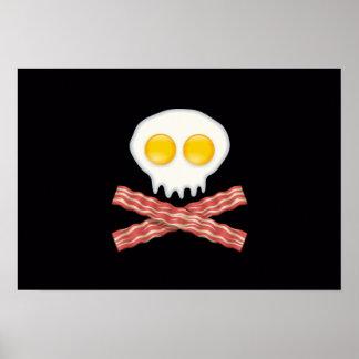 Skull With Crossed Bacon  Skull Bacon Eggs Poster