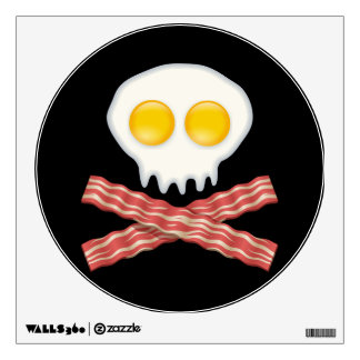 Skull With Crossed Bacon  Skull Bacon Eggs Wall Decal