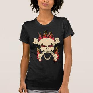 Skull with Crossed Bones & Flames Women's T-Shirt