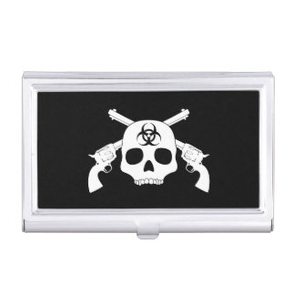 Skull with Crossed Guns Business Card Holders